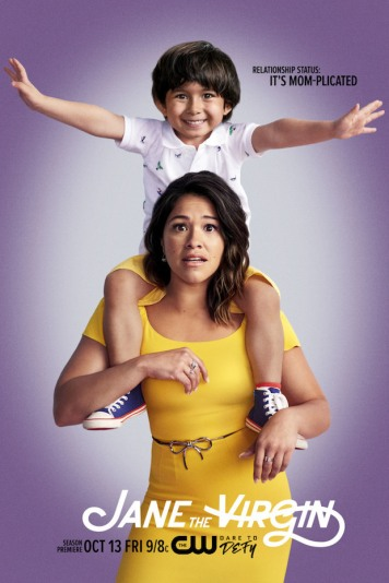 Jane The Virgin -- Image Number: JAV4_KeyArtwithtext.jpg -- Pictured: Elias Janssen as Mateo and Gina Rodriguez as Jane -- Photo: Marc Hom/The CW -- © 2017 The CW Network, LLC. All Rights Reserved.